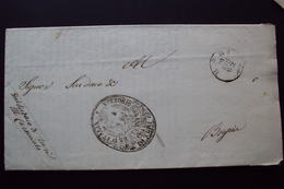 STORIA POSTALE PREFILATELIA PREFILATELICA O FRANCHIGIA PUGLIA 1862 ANNULLO BARI PER BRESCIA - 1. ...-1850 Prephilately
