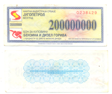 BON COUPON FOR GASOLINE AND DIESEL 200 000 000 - Serbie