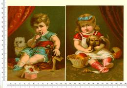 2 CHROMOS  LITHOGRAPHIES GRAND FORMAT  16 /12.5 Cm  ...ENFANTS ...JOUETS...POUPÉE...PETIT CHIEN.. - Vieux Papiers