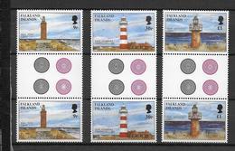 FALKLAND - PHARES - YVERT 697/699 EN PAIRE INTERPANNEAU ** MNH - COTE = 27+ EUR. - Falkland