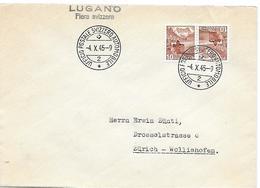 """123 - 38 - Enveloppe Avec Oblit Spéciale """"Lugano Fiera Swizzera 1945"""" - Marcophilie"""