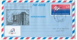 """FRANCE => Aérogramme 4,20F Bicentenaire, Repiqué """"La Bastille""""... Obl P.J De Nice - Ganzsachen"""