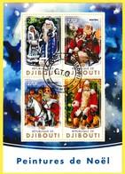 Bloc Feuillet Oblitéré De 4 Timbres-poste - Peintures De Noël - République De Djibouti 2016 - Dschibuti (1977-...)