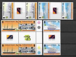 FALKLAND - BATEAUX - YVERT 742/746 EN PAIRE INTERPANNEAU ** MNH - COTE = 33+ EUR. - Falkland