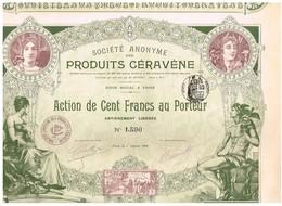 Action Ancienne - Société Anonyme Des Produits Céravène - Titre De 1900 - N°1590 - Déco - Agriculture