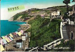Marche-pesaro- Gabicce Mare E Monte La Capri Dell' Adriatico Panoramica Veduta Spiaggia Cabine Scalinata Anni 50 60 - Andere Städte