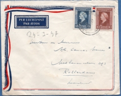 Dutch Indies 1947, 24 MR Batavia-Centrum To Rotterdam (Netherlands) Postmark Australian Type, 25 Cents Franking - Indes Néerlandaises