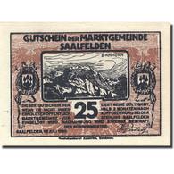 Billet, Autriche, Saalfelden, 25 Heller, Personnage 2, 1920 Marron SPL - Autriche