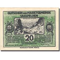 Billet, Autriche, Saalfelden, 20 Heller, Personnage 1, 1920, Vert SPL - Autriche