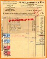 BELGIQUE- BRUXELLES- RARE FACTURE V. WALSCHAERTS & FILS- QUINCAILLERIE OUTILLAGE-MEUBLES-54 RUE ANDERLECHT-1936 - Ambachten