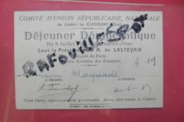 Pub  Comite D'union Republicaine Nationale  Du Canton De Clermont Dejeuner Democratique - Pubblicitari