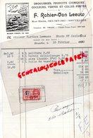 BELGIQUE - BRUXELLES-RARE FACTURE F. RAHIER- VAN LEEUW-DROGUERIES PRODUITS CHIMIQUES-A LA BALEINE-1923 - Petits Métiers