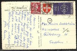 Carte Postale De Guadeloupe Pour La Suède Affr. 25 F Marianne De Muller, 5 F Lille Et 50 F Europa 59 Secap Basse-Terre - Marcophilie (Lettres)