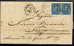 ITALIE - 1881 - Paire Du N° 36 Sur Lettre De Genova Pour Nizza Di Mare - B/TB - - Marcofilía