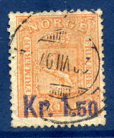 NORWAY 1906 Surcharge Kr. 1.50 On 2 Sk., Used.  Michel 63 - Used Stamps