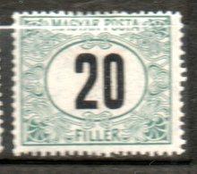 HONGRIE Taxe 20fi Vert Noir 1903 N°7 - Segnatasse