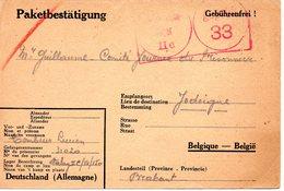 Kriegsgefangenenpost  Guerre 1940/45 Stalag II C Greifswald Reçu De Colis Vers JODOIGNE 1942 + Censure FIXED PRICE ! - Dokumente
