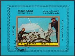 Manama 1972 Bf. 192B Spazio Space Moon Conquest Sheet Imperf. CTO - Manama