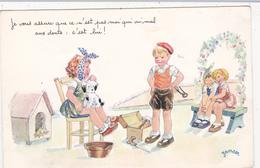 CPSM Enfant Chien Dog Dentiste Dentist Dental Mal Aux Dents Arracheur De Dents Bricoleur Illustrateur JANSER - Janser