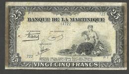 MARTINIQUE 25 FRANCS 1943 P-17a RARE - Billets
