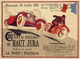 Car Automobile Grand Prix Postcard Haute-Jura St.Claude-Morez-Clairvaux-Oyonnax-Gex 1935 - Reproduction - Publicité