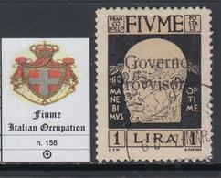 ITALIA - FIUME N.158  Used   - Cv 225 Euro - EXPERT. - GEPRÜFT DIENA - 8. Occupazione 1a Guerra