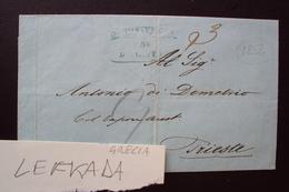 STORIA POSTALE PREFILATELIA PREFILATELICA FRANCHIGIA 1856 GRECIA ELLAS DA SANTA MAURA LEFKADA PER TRIESTE - Grecia