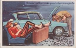 Bn - Cpa Illustrée Carrière - Bricoler C'est Bien, Mais Quand Allons Nous Partir (Citroën Ami 8) - Carrière, Louis