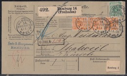 DR Paketkarte Mif Minr.46,3x 49 Senkr. 3er Streifen Hamburg 4.1.98 Gel. In Schweiz - Deutschland