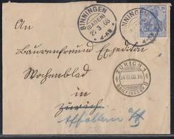 DR Brief EF Minr.87I KOS Binningen (Baden) 22.3.08 Gel. In Schweiz - Deutschland