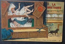 CPA LA BRETAGNE - Humour -  A Jeunes époux Lit-clos Solide - Artaud 69-- Réf. Q 186 - Bretagne