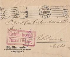 DR Brief Gebühr Bezahlt Postamt 1 Hamburg 10.9.23 - Briefe U. Dokumente