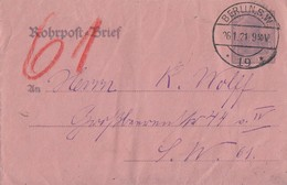 DR GS-Umschlag Rohrpost Minr.RU9 Zfr. Minr.2x 145 Berlin 26.1.21 - Briefe U. Dokumente