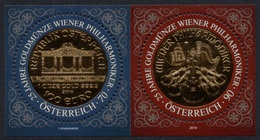 AUSTRIA 2014 25th Anniversary Of The Vienna Philharmonic (Coin): Pair Of Stamps UM/MNH - 2011-... Nuevos & Fijasellos