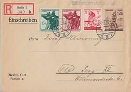 DR R-Brief Mif Minr.886,897,898,906 Berlin 8.12.44 Gel. Nach Prag - Briefe U. Dokumente