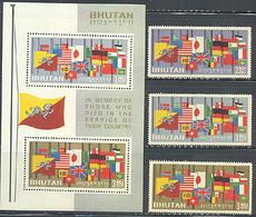 Bhutan 40-42 Bf 2, 31-33a Flags Of World,Set/3 & SS, Black Serial Number, Mint NH - Bhutan