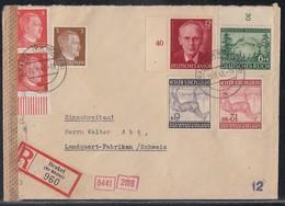 DR R-Brief Mif Minr.782,2x 786 UR,855,856,857,858 Brakel 20.8.43 Gel. In Schweiz Zensur - Deutschland