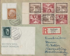 DR R-Brief Mif Minr.513 OER,646,Zdr. Minr.W116, W118 Geislingen 27.6.37 - Germany