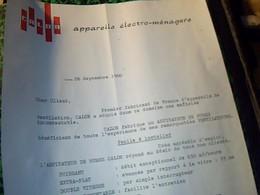 Facture A Lettre A Entéte Calor Appareil  Electro Menagers Annee 1960 - France