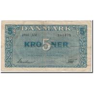 Billet, Danemark, 5 Kroner, 1944, KM:35a, TB - Danemark