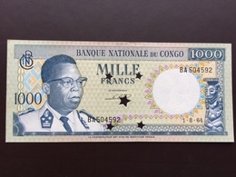 CONGO DEM REPUBLIC P8 1000 FRANCS 1.8.1964 UNC - Congo
