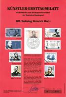 Germany 1994 Mi. 1710 FDC Art Card, Heinrich Hertz, German Physicist, Expanded Maxwell's Electromagnetic Theory Of Light - Elettricità