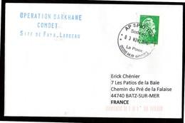 Enveloppe Oblitération AP SPID 148 Sodexo La Poste 00200 HUB ARMEES Du 03 11 2018 Opération Barkhane FAYA - LARGEAU - Marcophilie (Lettres)