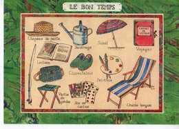 Louise DELETANG Le Bon Temps,chapeau Paille Arrosoir,parasol,palette De Peintre,jeu De Cartes,chaise Longue,canne A Pech - Autres Illustrateurs