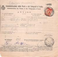 11697  AVVISO RICEVIMENTO RACCOMANDATA LUGO - 1900-44 Vittorio Emanuele III