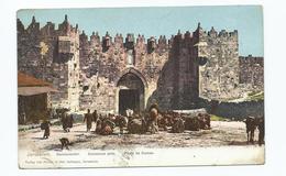 Postcard Jerusalem Damascus Gate Postcard London Exhibition Postmark 1907 - Israel