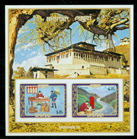 Bhutan 155h Blk 63 Imperf Mail Service, Neuf** Sans Charniere, Mint NH, Scott 155H Imperf - Bhutan
