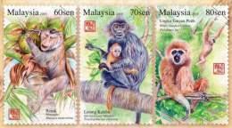 Malaysia 2016 S#1583-1585 Primates MNH Fauna Monkey Zodiac Unusual (florescent Ink) - Malaysia (1964-...)