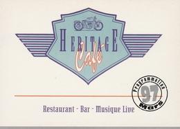 CPM Publicitaire - HERITAGE CAFE - Restaurant Bar Musique Live - Programmation Musicale Mars 97 - Demonstrations