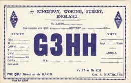 1950's Radio QSL Card G3HH Kingsway Woking Surrey A Southgate Amateur - Radio Amateur